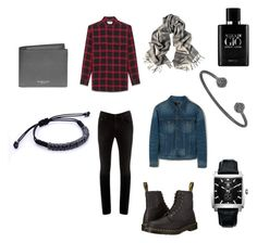 """Casual Sunday"" by atolyestone ❤ liked on Polyvore featuring MANGO MAN, Yves Saint Laurent, Acne Studios, TAG Heuer, Michael Kors, Giorgio Armani, Dr. Martens, men's fashion and menswear"