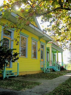 a new orleans shotgun. Louisiana Usa, New Orleans Louisiana, Painted Lady House, Creole Cottage, Shotgun House, Have A Nice Trip, Pastel Room, New Orleans Homes, Mellow Yellow