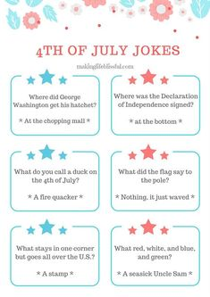 Free Patriotic Jokes and a of July Printable Activity Pack 4th Of July Trivia, 4th Of July Games, Fourth Of July Food, 4th Of July Celebration, 4th Of July Party, July 4th, 4th Of July Puns, Patriotic Party, Activity Sheets For Kids