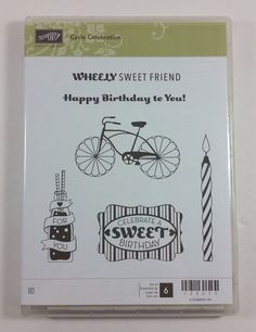 Stampin' Up! CYCLE CELEBRATIONS Clear Rubber Stamp Bike Soda Birthday Candle NEW #StampinUp #Background