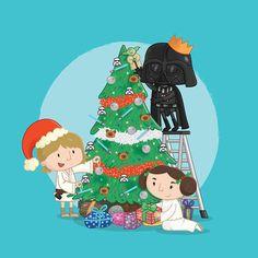 Star Wars Christmas Cards  Darth Vader  Princess by Nafftastic
