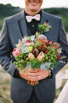 Eco Friendly Weddings: For florals think native, or at the very least think in season. Importing flowers is harsh on the environment when you think about how far your blooms will have to travel. Groomsmen Fashion, Groomsmen Suits, Forest Wedding, Rustic Wedding, Our Wedding, Sustainable Wedding, Bride Groom, Eco Friendly, Wedding Flowers