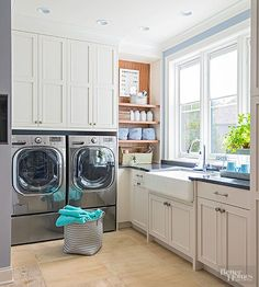 These appliances create a high-efficiency laundry room: A washer reduces wash time, and a heat pump dryer reuses the air it heats. /