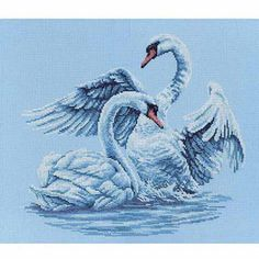 """RTO Swan Fidelity Counted Cross-Stitch Kit, 15-3/4"""" x 13-3/4"""", 14 Count"""