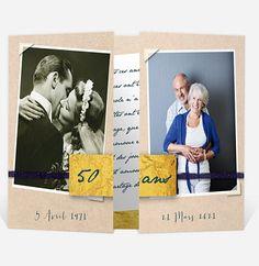 Annoncez votre anniversaire de mariage de manière élégante et raffinée. Ce faire part vous propose d'inviter vos proches à fêter avec vous l'anniversaire le plus important dans votre couple. En effet, vous pouvez proposer deux photos, une de votre mariage et une de maintenant. Un design très moderne qui va vous plaire !