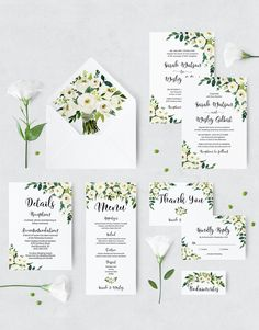 Excited to share the latest addition to my #etsy shop: White Flower Rustic Wedding Invitation Cards - Printable Boho Wedding Template - Custom Greenery Wedding Invitation - Digital Download https://etsy.me/2GLViQO