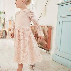 516562860306a2 Mini girls pink floral lace flower girl dress - Baby Girls Dresses - Mini  Girls - girls