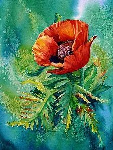 Orange Oriental by Karen Mattson Watercolor ~ 15 x 12