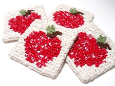 Apple Coasters Apple Trivets Apple Hot Pad by FarmCountryCrafts, $15.00