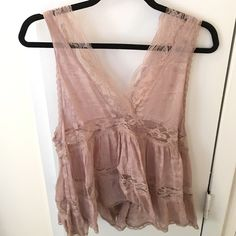 Free People Intimates Sheer Lace Tank Worn a few times-no signs of wear. Beautiful lace detailing. Sheer lace panels. Light mauve. Fits large to size. Free People Tops Tank Tops