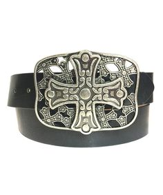 Look at this Galaxy Belts Black Cross Buckle Belt on #zulily today!