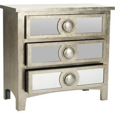 A stylish addition to your master suite or den, this charming chest showcases a silver leaf finish and 3 drawers.  Product: Ches...