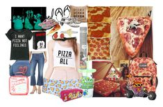 """""""must love Pizza"""" by lerp ❤ liked on Polyvore featuring Marc Jacobs, Topshop, JanSport, Disney, J.Crew, American Outfitters and Hot Topic"""