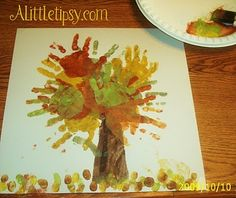 Fall idea with hand prints. So cute.