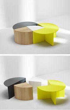 Modular coffee #table PIE CHART SYSTEM by H Furniture  #mobiliario versátil y muy atrevido, como nos gusta #shioconcept