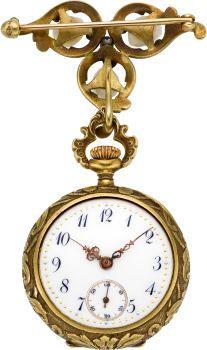 Swiss Art Nouveai Gold, Diamon I Pearl Pendant Watch, circa1905. ...(open view)