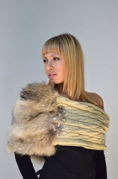 Infinity Fur Snood - Taupe & Beige Cowl Scarf in Cable Knit and Coyote with Rhinestones Embellishment on Etsy, $195.00. I'm obsessed with this