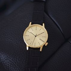 Winston Monte Carlo Croc. Combining a Gold case with a raw and luxurious Croc leather strap.