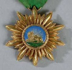 Iran Ghajar/Pahlavi order of Science and Art Knight badge in GOLD and enamel with high relief lion, rare type and superb condition