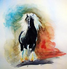 Watercolor painting of a gypsy vanner