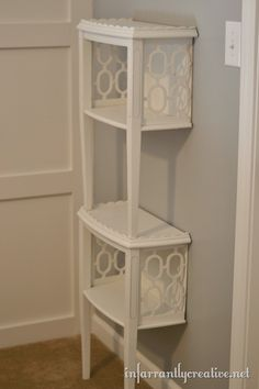Cut end table in half, attach to wall on top of one another to make a bookcase