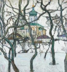 Winter Scene with Church - Abraham Manievich