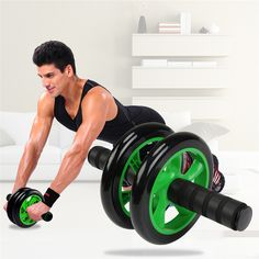 Fitness Equipments Body Fitness Dual Wheel Abdominal Training Roller Home Gym Arm Waist Exerciser Pad Fitness Body Building Equipments Ab Rollers High Quality Goods