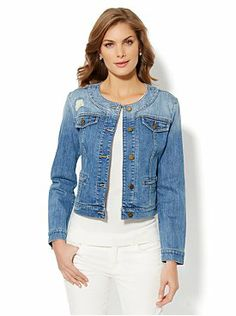 a1ce805eec Collarless Denim Jacket from New York   Company Collarless Denim Jacket