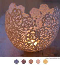 Bougeoir En Dentelle - DIY Déco - Décoration - Decoration - Candle - Bougie - Bougeoir - Candestick - Lace - Dentelle - Crochet Doilies - Napperon Crochet - Tuto - Tutoriel -