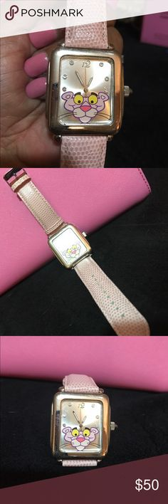 """PINK PANTHER WATCH with crocodile print band This is rare collectors item.  Works fine, needs battery.  I have two watches available. One with no blemishes, scratches or flaws (see last photo, the watch on the left).  The other, of """"like new"""" appearance except for a small chip in the lower left corner of the Watch face, which is hardly noticeable and does not impair function (the watch on the right). Price is firm on the first one.  On the second, make a reasonable offer! Accessories Watches"""