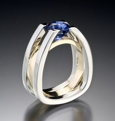 """Strength is our Forte. """"Forte"""" ring by Adam Neeley features a sapphire in an architecturally inspired setting. To order: info@adamneeley.com"""