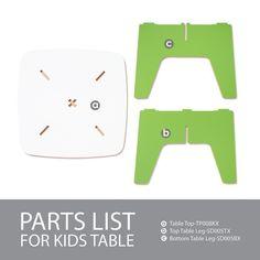 Modern, Green, Folding Kids Table