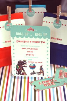 VINTAGE CIRCUS PARTY INVITATIONS