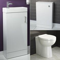 Crosby Toilet & Floor Standing Portland Slimline Basin Cabinet Gloss White - soak.com