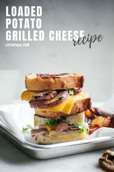 Easy to make, complete comfort food, the Loaded Potato Grilled Cheese Sandwich recipe. Ad. Made with amazing tasting Red @IdahoPotato that take this grilled cheese to a whole new level. Get the recipe at Little Figgy Food. #recipes #IdahoPotatoes #Potatoes #grilledcheese #sandwiches #lunchideas #snacks #backtoschoollunch #comfortfood #cheese #ham #bacon #prosciutto Tasty Potato Recipes, Gf Recipes, Grill Cheese Sandwich Recipes, Grilled Cheese Recipes, Breakfast Recipes, Dinner Recipes, Loaded Potato, Kid Friendly Meals, Lunches And Dinners