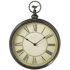 Pocket watch-inspired metal wall clock with a bird accent.    Product: Wall clockConstruction Material: Metal