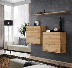 Shelf Furniture, Living Room Furniture, Living Room Decor, Floating Tv Cabinet, Floating Shelves, Cube Mural, Image Deco, Etagere Design, Living Room Wall Units