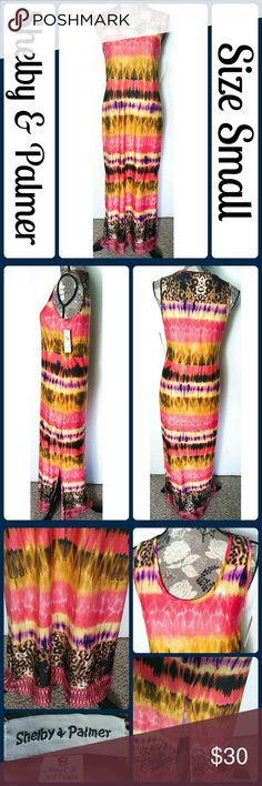"NWT Sz S Colorful Cheetah Maxi Sheath Dress So chic and perfectly on trend! Brand new with tags. 95% Polyester, 5% Spandex. Across Bust 18"", Length 54"" from center back No rips, tears, or stains.... From a smoke-free, dog friendly home, No trades and no off-site transactions! (T179) Shelby & Palmer Dresses Maxi"