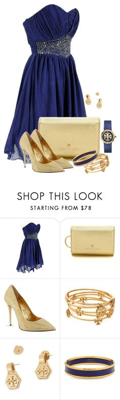 """""""Navy/Gold"""" by fatima92 ❤ liked on Polyvore featuring Kate Spade, Giuseppe Zanotti, Tory Burch and Halcyon Days"""