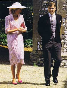 1985-07-20 Diana and Andrew attend the Wedding of Carolyn Herbert to John Warren at Highclere in Berkshire