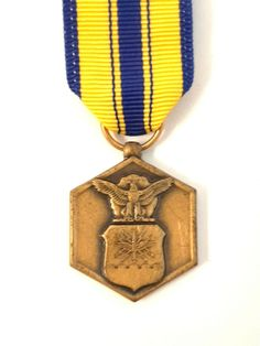 Air Force Medals, Eagle Claw, Us Air Force, Blue Yellow, Ribbon, Bronze, Military, Mini, Vintage