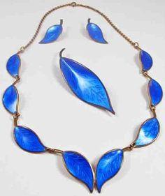David Andersen Vintage Guilloche Blue Enamel Leaf Necklace Sterling Set