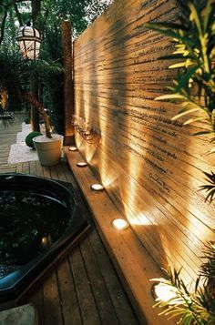 30 DIY Lighting Ideas at Night Yard Landscape with Outdoor L.- Before you get in any landscape lighting, ask yourself what your goals are for wanting lighting in your yard. Courtyard Landscaping, Outdoor Landscaping, Landscaping Ideas, Outdoor Privacy, Modern Landscaping, Pergola Ideas, Pathway Lighting, Backyard Lighting, Garden Lighting Ideas