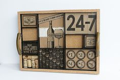 This fun tray was repurposed and decorated to show off Canvas Corp's Vino and Ale papers. Clever use for those wine corks! Wine And Beer, Beer Tasting, Wine Corks, Travel Scrapbook, Creative Studio, Crafty Projects, Mini Books, Wine Country, Ale