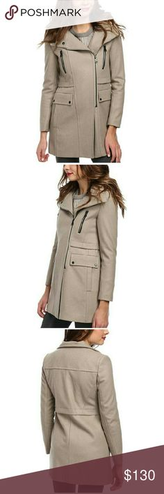 Marc New York  By Ella City Wool Coat New Designer Marc New York by Andrew Marc Ella City Wool Med. Beige  MSRP/Retail $300.00 Size: 4 Material:? Shell: Wool 63%, Polyester 37% Lining: Polyester 100% Combination: Faux Leather Trim Face: Polyurethane 100% Back: Ciscose 100% Faux Fur Trim: 85% Modacrylic, 15% Polyester Marc New York Jackets & Coats Pea Coats