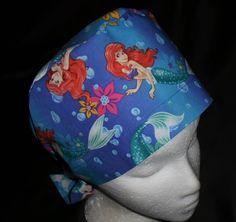 Disney Ariel The Little Mermaid Pediatric Nurses Women Surgical Scrubs Scrub Caps Ladies Pixie