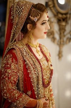 Work for Makeover by Clicked by . Pakistani Wedding Outfits, Indian Bridal Outfits, Pakistani Bridal Dresses, Pakistani Wedding Dresses, Pakistani Dress Design, Bridal Lehenga, Pakistani Bridal Makeup Red, Bridal Hijab, Bridal Makeover