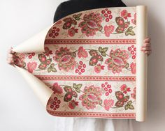 Vintage Wallpaper Roll - Bohemian Pink Paisley Floral with Stripes ~ Smile Mercantile