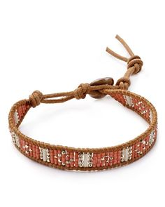 Chan Luu Beaded Bracelet In Peach Mix/beige Leather Cord Bracelets, Beaded Wrap Bracelets, Leather Jewelry, Jewelry Bracelets, Jewlery, Boho Hippie, Hippie Jewelry, Jewelry Patterns, Bracelet Patterns