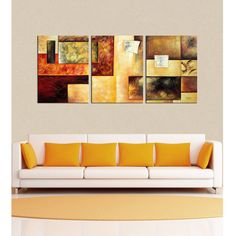 'Abstract Multicolor' Hand-painted 3-piece Oil Painting Set ($91) ❤ liked on Polyvore featuring home, home decor, wall art, orange, handmade home decor, oversized wall art, colorful canvas wall art, oversized canvas wall art and orange home decor